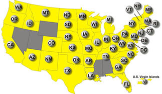 Map showing the states where Mega Millions is played