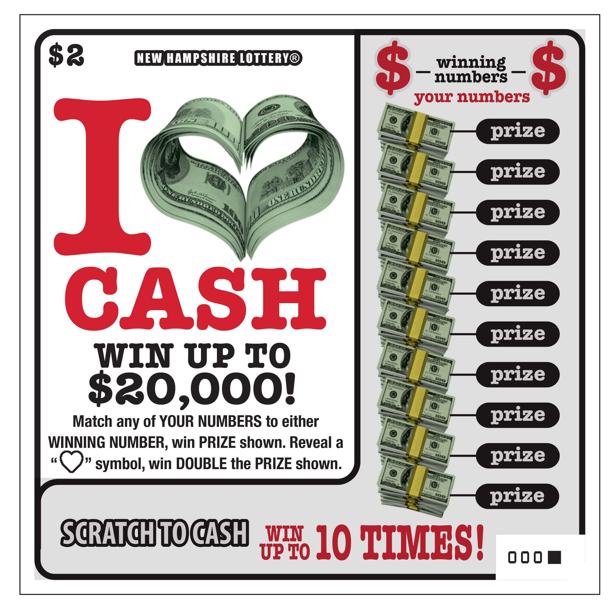 I Heart Cash New Hampshire Lottery