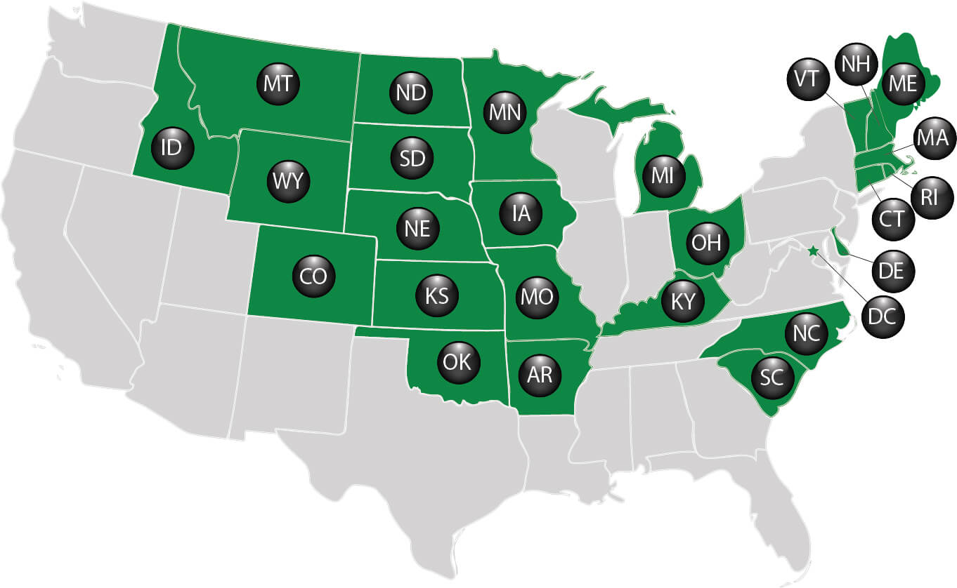 Map showing the states where Lucky for Life is played